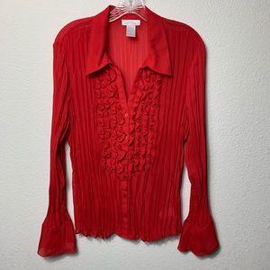 Worthington red sheer blouse
